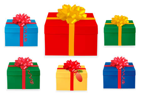 red gift box: Set of colorful gift boxes with red and gold ribbons.