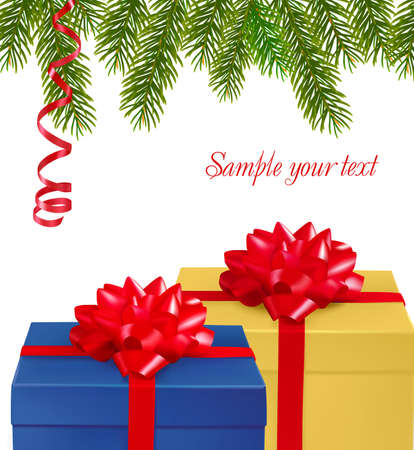 Christmas background with gift boxes . Vector. Stock Vector - 8898397