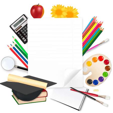 high school student: Regreso a la escuela. Papel con material escolar. Vector.