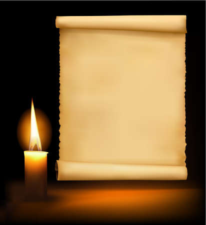 parchment scroll: Background with old paper, candle and a candle. Vector illustration.