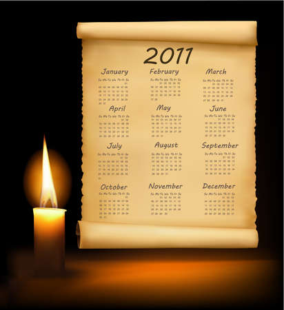 Old paper with calendar 2011 Stock Vector - 8898365