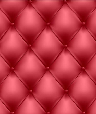 Red button-tufted leather background. Vector illustration. Vector