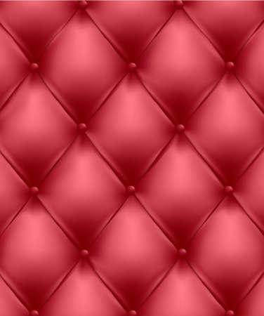 interior decorating: Sullo sfondo di pelle rossa trapuntati a pulsante. Illustrazione vettoriale.