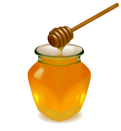 pot of gold: Jar of honey with wooden drizzler. Vector.  Illustration