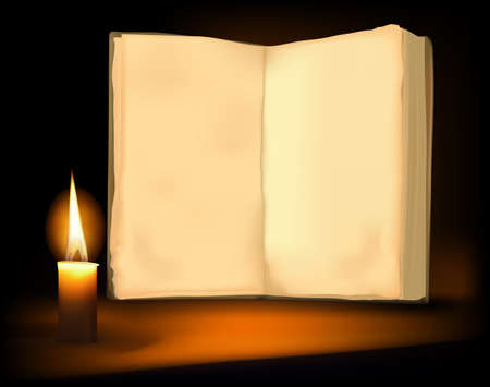 Background with old book, candle and a candle. Vector illustration.