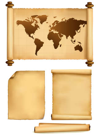 World map in vintage pattern and old papers. Vector. Stock Vector - 8898380