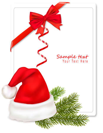 Red bow with ribbons and Santa hat. Vector.  Illustration