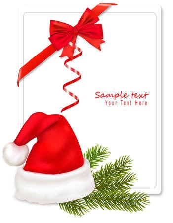 Bow rouge avec des rubans et Santa hat. Vecteur.