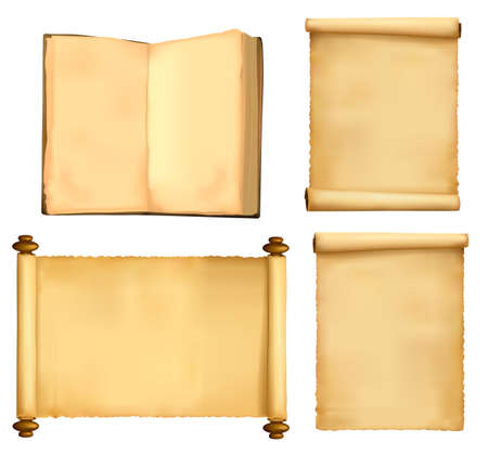 Set of old paper sheets and book. Vector. Stock Vector - 8898391
