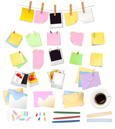 back straight: The big group of office papers. Vector. Illustration