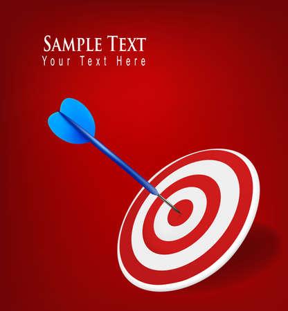 targeting: Dart hitting a target. Success concept. Vector illustration