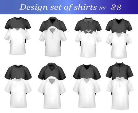 Camisas de polo de hombres de blanco y negro y camisetas. Ilustración vectorial fotográfica