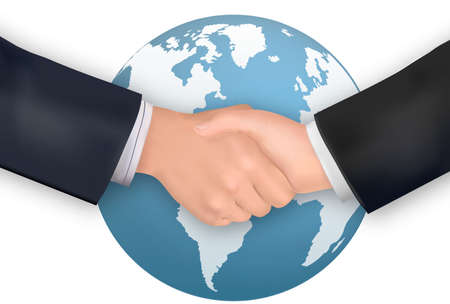 pact: Business handshake on the background of the Earth. Vector.