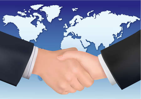 Business handshake on the background of the world map. Vector.  Vector