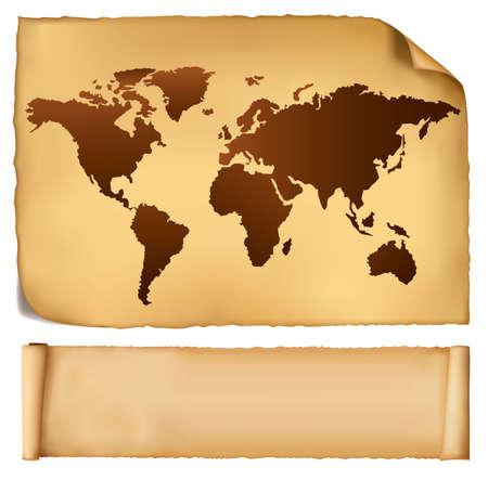 Carte World dans le pattern vintage et vieux papiers. Vecteur.