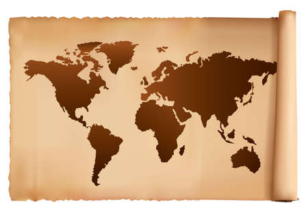 old world: World map in vintage pattern. Vector.