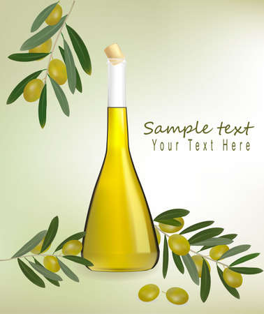 healthiness: Fondo con botella de aceite de oliva con aceitunas y especias. Vector.