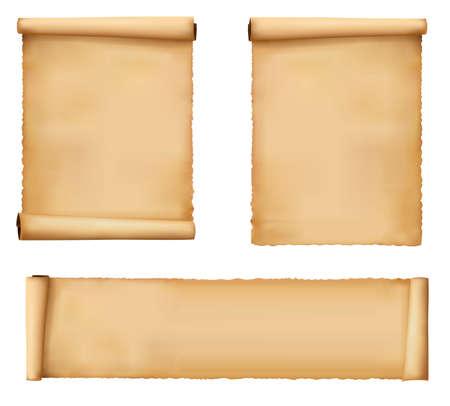 parchment texture: Impostare di vecchi fogli di carta. Vettore.