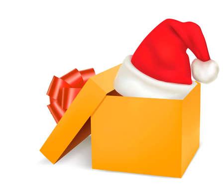 Christmas gift box and santa hat.  Vector