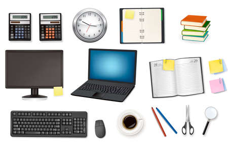 Computer and office supplies. Vector. Stock Vector - 8898400