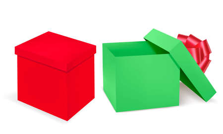 Red and green gift boxes with red ribbon. Vector  Stock Vector - 8898351