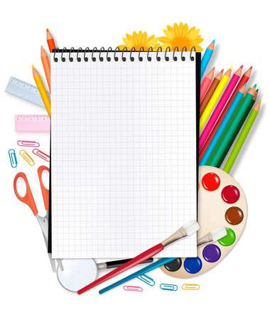 lapiz y papel: Regreso a la escuela. Bloc de notas con suministros. Vector.  Vectores