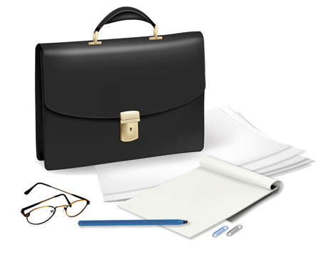 waft: A briefcase and notebook and some office supplies. Vector.
