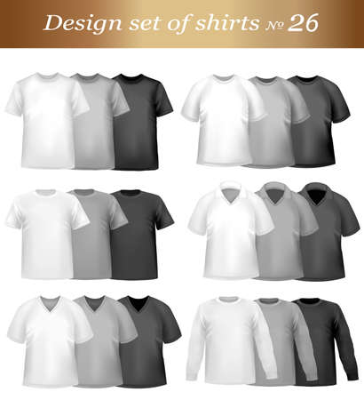 sleeves: Color t-shirt design template. Vector illustration.