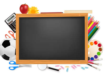 a graduate: Back to school. Black desk with school supplies. Vector.