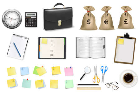 cash book: Big collection of business and office supplies. Vector illustration.  Illustration