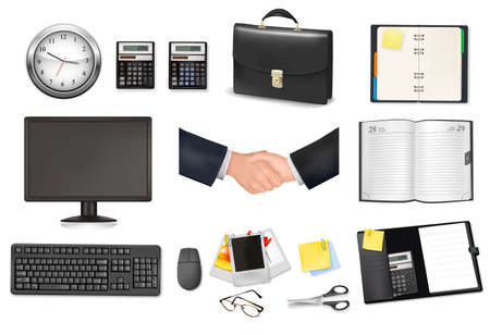 Big collection of business and office supplies. Vector.  Stock Vector - 8898458