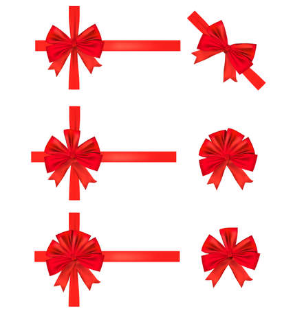 Collection of red gift bows with ribbons. Vector. Stock Vector - 8898426