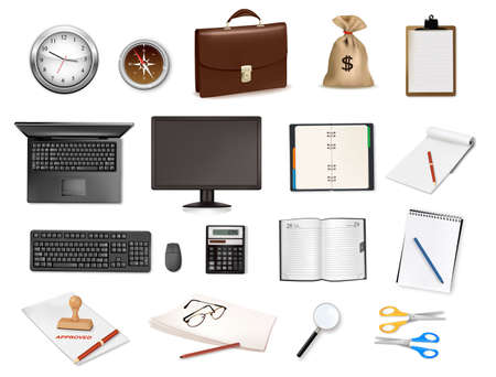 message pad: Big collection of business and office supplies. Vector Illustration