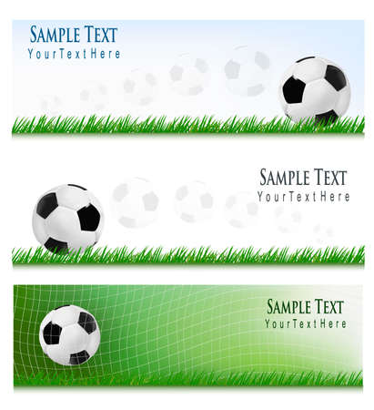 football kick: Three football backgrounds. Vector Illustration