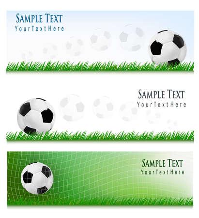 banni�re football: Trois horizons de football. Vecteur Illustration
