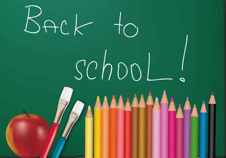 Blackboard with school supplies. Vector. Stock Vector - 8898417
