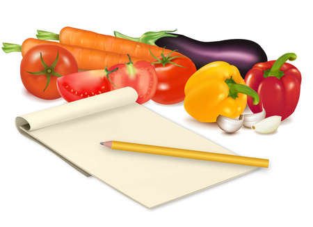 eatable: Notepad with recipe, tomato and some vegetables with pencil on table. Vector