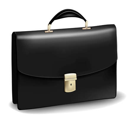 Business black briefcase. Photo-realistic vector.  Vector