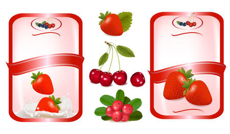 strawberry splash: Two red labels with berries. Vector illustration.