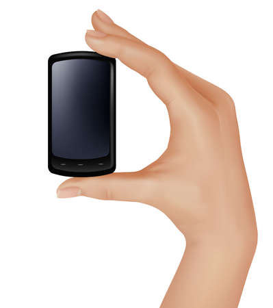 Mobile phone in the hand isolated on white. Vector  Vector