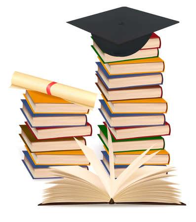 estudiantes de colegio: Pila de libros coloridos y gorro de graduaci�n. Ilustraci�n vectorial. Vectores