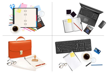 Big set of business and office supplies. Vector. Stock Vector - 8928831