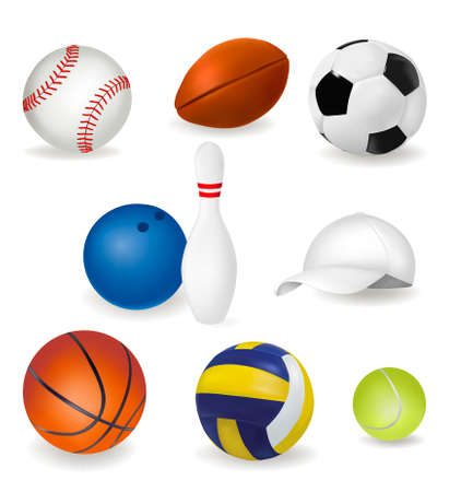 Big set of sport balls and tennis cap. Vector illustration. Vector