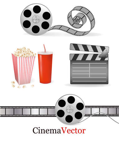movie clapper: Set of cinema symbols. Vector illustration.
