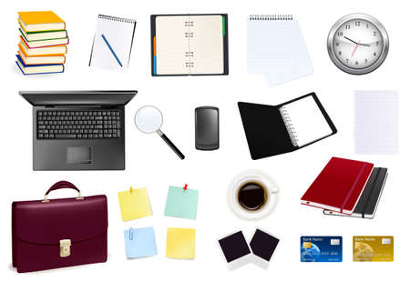 A briefcase, calculator, notebooks and some office and business supplies. Vector.  Vector