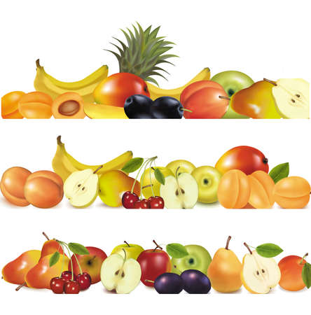 Three fruit design borders isolated on white Stock Vector - 8969556