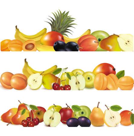 exotic fruit: Three fruit design borders isolated on white  Illustration