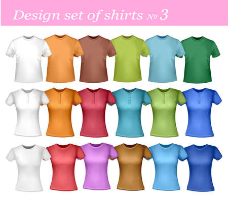 closets: White and colored polo shirts  Illustration