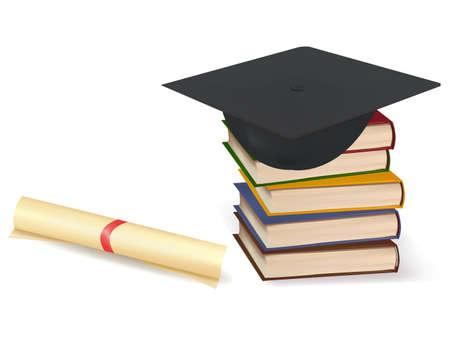 high school student: Cap de graduaci�n y diploma de pilas de libros