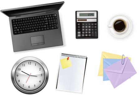 ticking: Notebook, calculator and office supplies